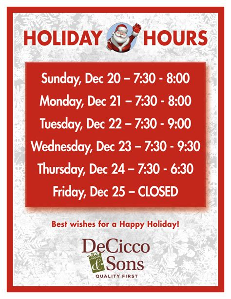store cuisine hours decicco sons