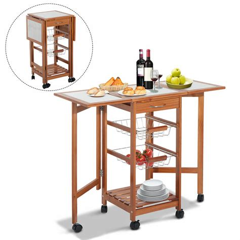 kitchen island cart with drop leaf portable rolling drop leaf kitchen storage tile top island