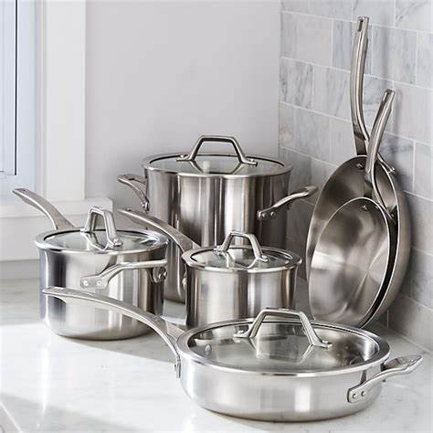 calphalon signature stainless steel  piece cookware set  double bonus crate  barrel