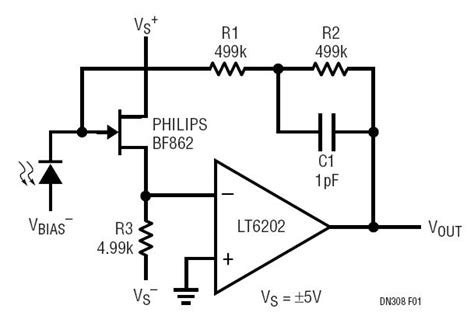 Low Noise Power Photodiode Amplifier Circuit