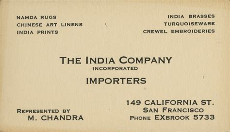 Business Card For The India Company Importers Quick Business Cards Bangkok Blank Recycled In Bulk Microsoft Word Order Print Bristol Address Printing