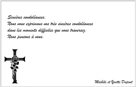 modele condoleance mod 232 le de lettre - Modèle Carte De Condoléances
