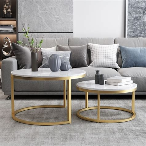 Barton coffee table set chic functional set with solid wood frames. Nordic Style Coffee Table Gold Metal & White Marble Living Room Accent Table with Round Top Set ...