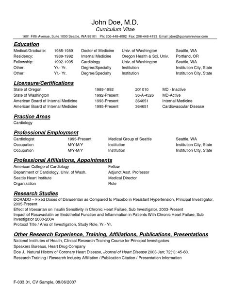 Physician Assistant Resume Templates by Cv Template Resident Physician Cvtemplate Physician