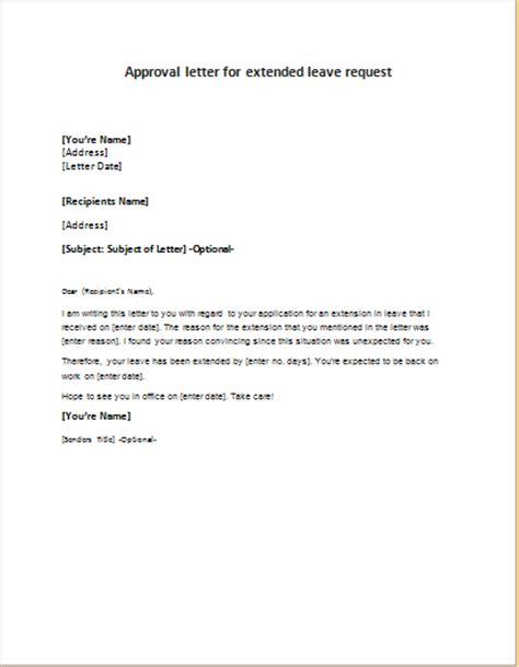 extended leave request approval letter writelettercom