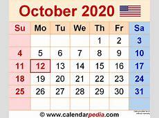 October 2020 Calendars for Word, Excel & PDF