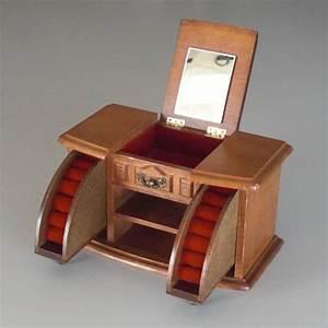 Coffre à Bijoux Bois : boite a bijoux en bois trois tiroirs doubl s de velour rouge ~ Premium-room.com Idées de Décoration