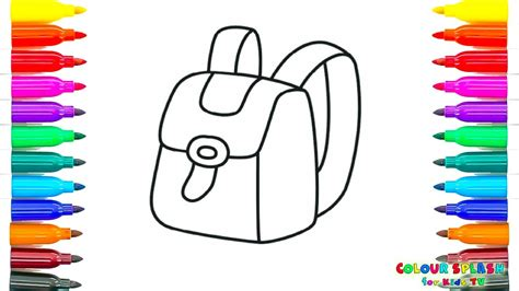 draw  school bag coloring pages kids learn