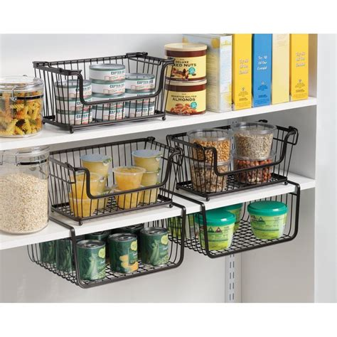 kitchen basket storage shelf basket storage space saving steel bronze 2293