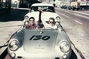 James Dean and his mechanic Rolf Weutherich, posing inside ...
