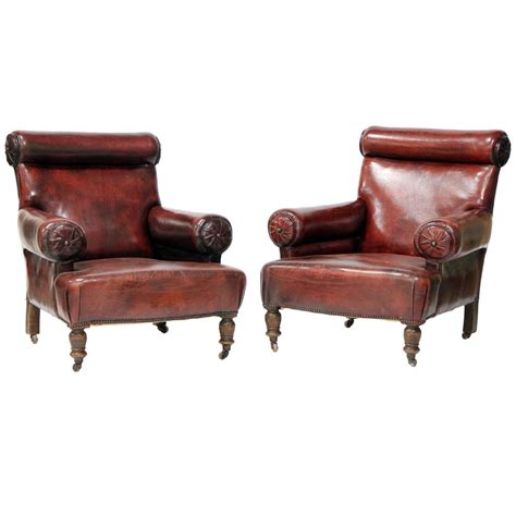 pair of unique large leather club chairs for sale at 1stdibs