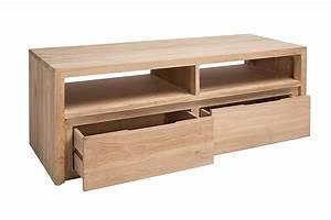 Tv 120 Cm : meuble tv 120 cm en teck massif 2 niches 2 tiroirs natura la galerie du teck ~ Teatrodelosmanantiales.com Idées de Décoration