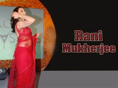 rani mukherjee wallpaper  red transparent saree