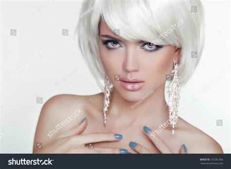FashionBlond Woman Portrait White Stock Photo