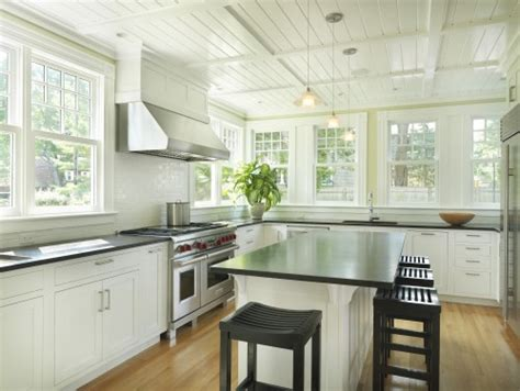 kitchen no upper cabinets beadboard ceiling cottage kitchen union studio