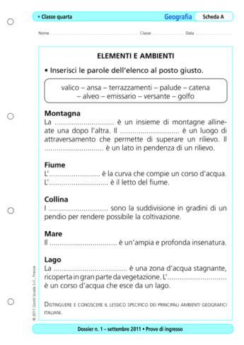 Prove Di Ingresso Scuola Primaria by Prove D Ingresso Geografia Classe 4 La Vita Scolastica