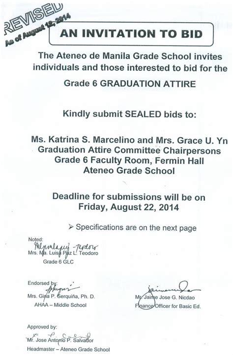 Revised Invitation To Bid For Grade 6 Graduation Attire