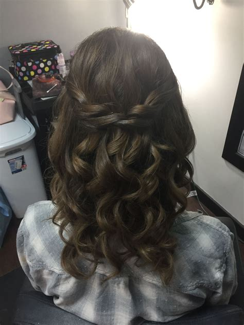 prom hair     brunette hair braid curls updo