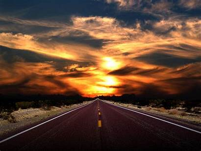 Road Sunset Into