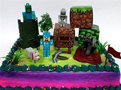 minecraft  piece birthday cake topper set featuring