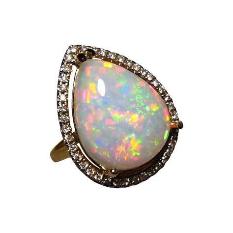 Big Welo Opal Diamond Gold Ring - Ethiopian Opal Rings