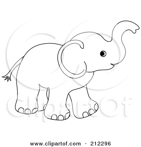 elephant clipart outline trunk up baby elephant outline