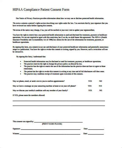 hipaa consent form sample  examples  word