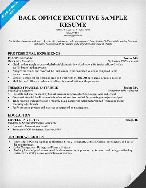 back office resume format back office executive resume sle resumecompanion resume sles across all industries