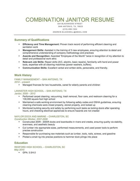 combination janitor resume sle this resume