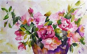 Download wallpaper Flowers, watercolor, painting free ...