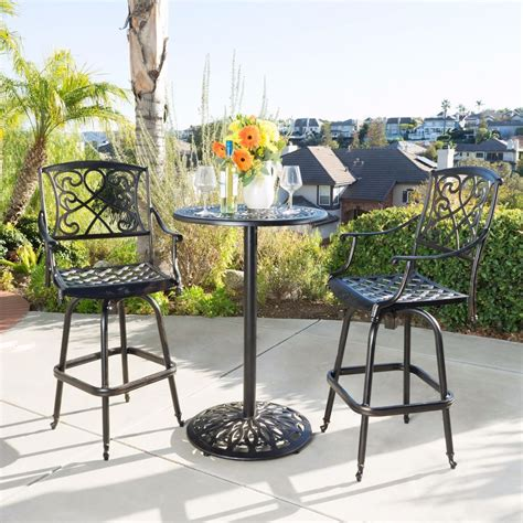 Bar Height Bistro Patio Set by Outdoor Patio Cast Aluminum Pub Bar Height Bistro