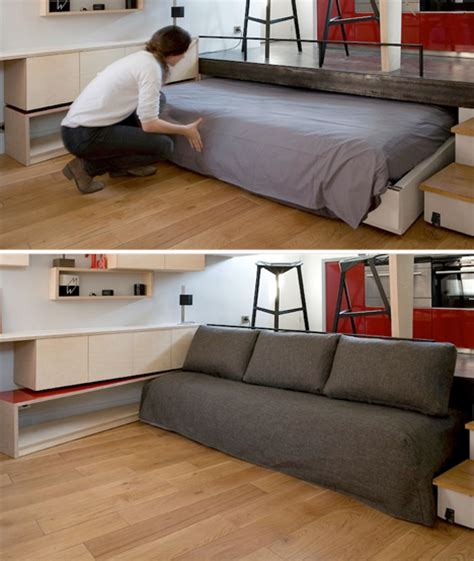 Disappearing Bed for Tiny Flat Rolls Under Kitchen Floor   Urbanist