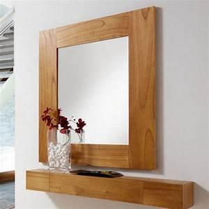 Miroir Cadre Bois : miroir salon en bois miroir mural marron clair ~ Teatrodelosmanantiales.com Idées de Décoration