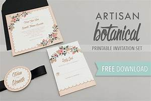 Free delicate floral wedding invitation suite the budget for Free wedding invitation suite printables