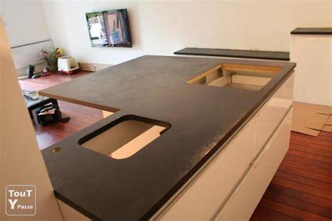 x cuisine decoration plan de travail cuisine en beton cire photo