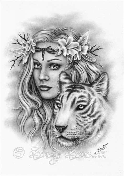 Beautiful Strength Cherry Blossom Flower White Tiger Girl Spring Art Print Glossy Emo Fantasy