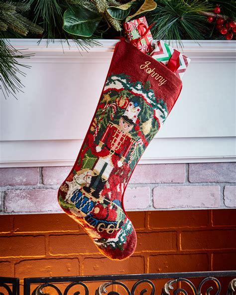 sferra needlepoint christmas stocking neiman marcus