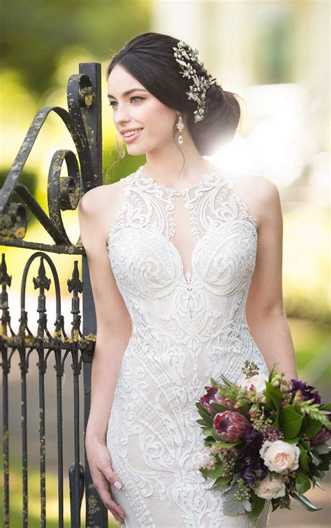 lace wedding gown  high neckline martina liana