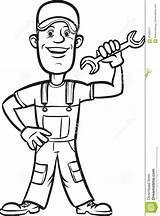 Wrench Drawing Plumber Cartoon Line Colorir Encanador Whiteboard Coloring Chave Desenho Animados Desenhos Dos Vector sketch template