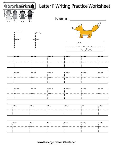 kindergarten letter f writing practice worksheet printable