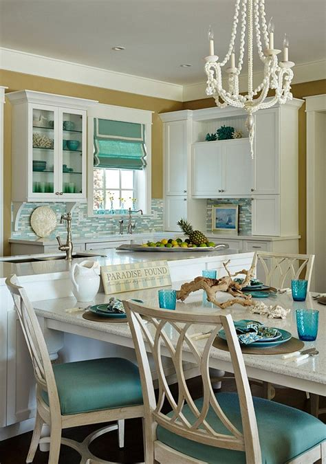 turquoise kitchen island coastal white and turquoise kitchen t shaped kitchen 2969