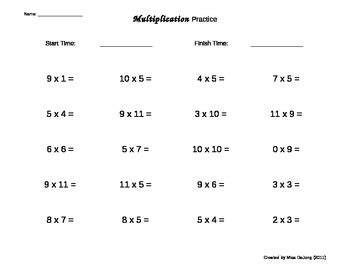multiplication worksheets self generating 20 questions per page