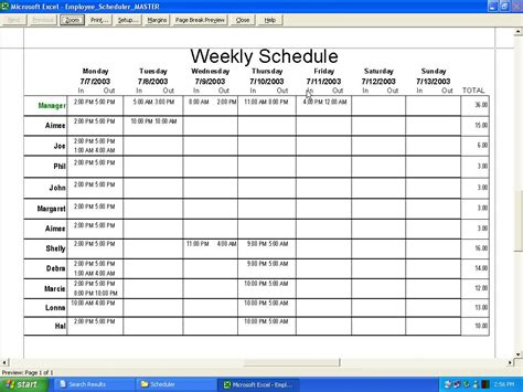 schedules template in excel employee work schedule template excel