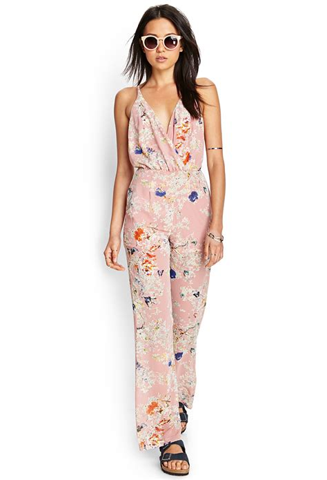 retro jumpsuit forever 21 retro floral jumpsuit in pink lyst