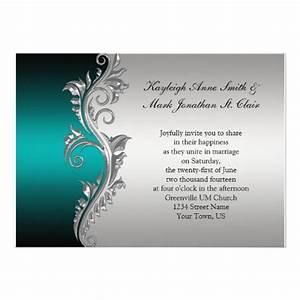 vintage teal black and silver wedding invitation 5quot x 7 With black white and teal wedding invitations