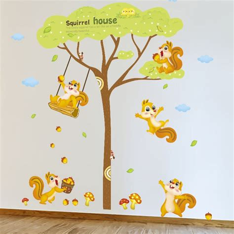 English Letters Squirrels Tree Wall Decal Home Sticker