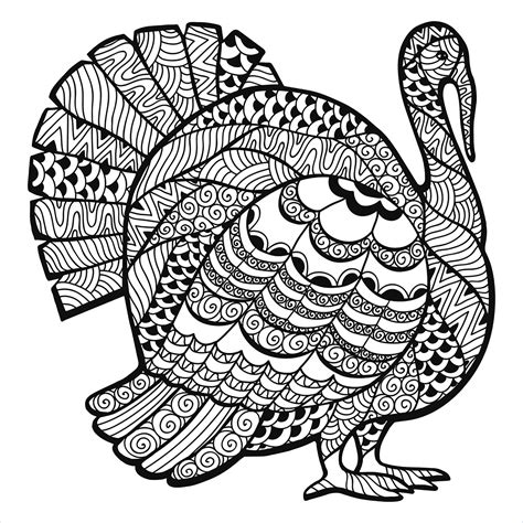 adult coloring turkey thanksgiving turkey zentangle coloring page from the