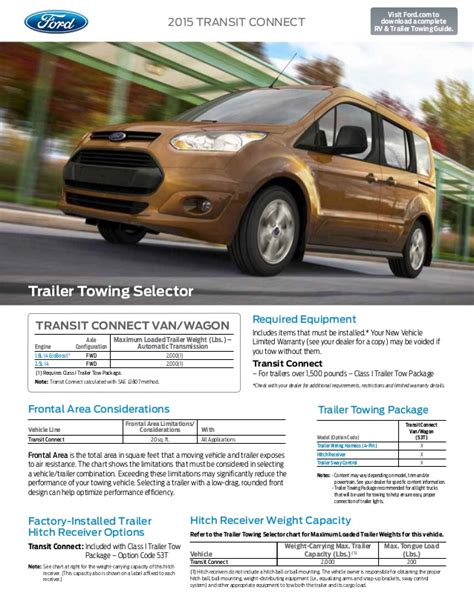 2015 Ford Transit Connect Towing Capacity Information