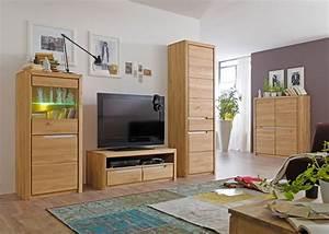 Wohnzimmerschrank Pisa 6 Eiche Bianco Massiv 63x198x41 Cm