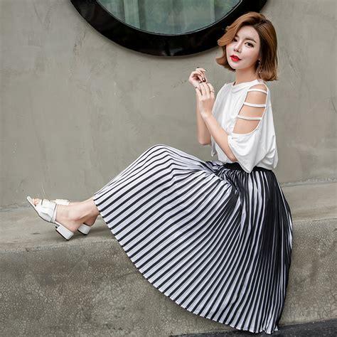 Hot Black And White High Waist Stripes Skirts Long Pleated Skirt Korean Patchwork Midi Fashion ...